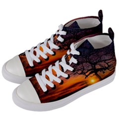 Lonely Tree Sunset Wallpaper Women s Mid-Top Canvas Sneakers