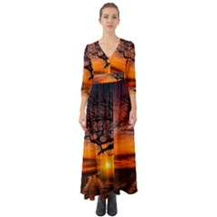 Lonely Tree Sunset Wallpaper Button Up Boho Maxi Dress