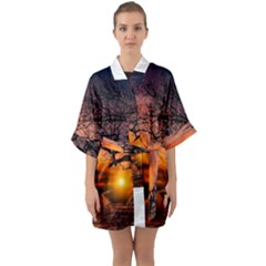 Lonely Tree Sunset Wallpaper Quarter Sleeve Kimono Robe
