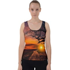 Lonely Tree Sunset Wallpaper Velvet Tank Top