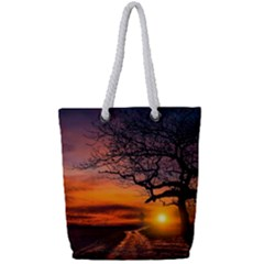 Lonely Tree Sunset Wallpaper Full Print Rope Handle Tote (Small)