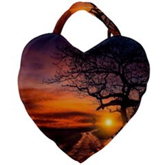 Lonely Tree Sunset Wallpaper Giant Heart Shaped Tote