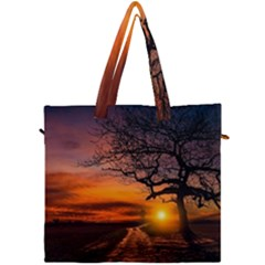 Lonely Tree Sunset Wallpaper Canvas Travel Bag