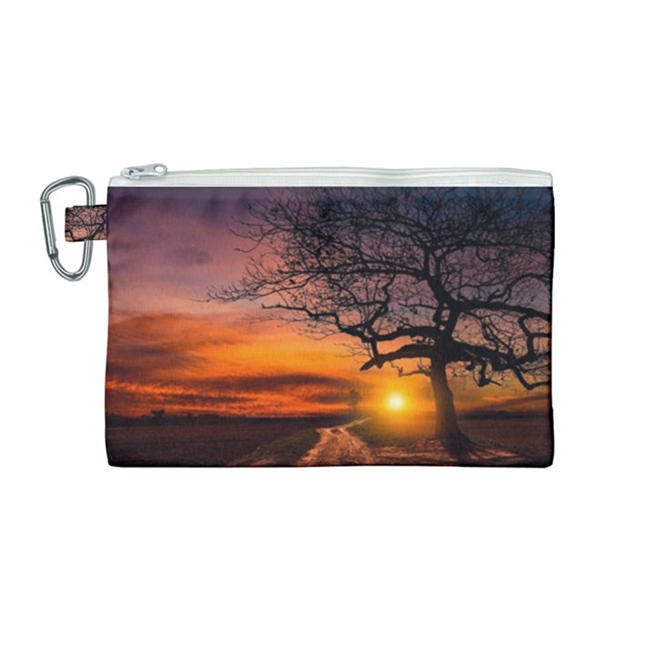 Lonely Tree Sunset Wallpaper Canvas Cosmetic Bag (Medium)