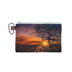 Lonely Tree Sunset Wallpaper Canvas Cosmetic Bag (small)