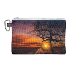 Lonely Tree Sunset Wallpaper Canvas Cosmetic Bag (large)