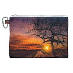 Lonely Tree Sunset Wallpaper Canvas Cosmetic Bag (XL)