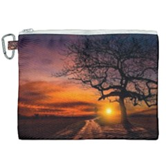 Lonely Tree Sunset Wallpaper Canvas Cosmetic Bag (XXL)