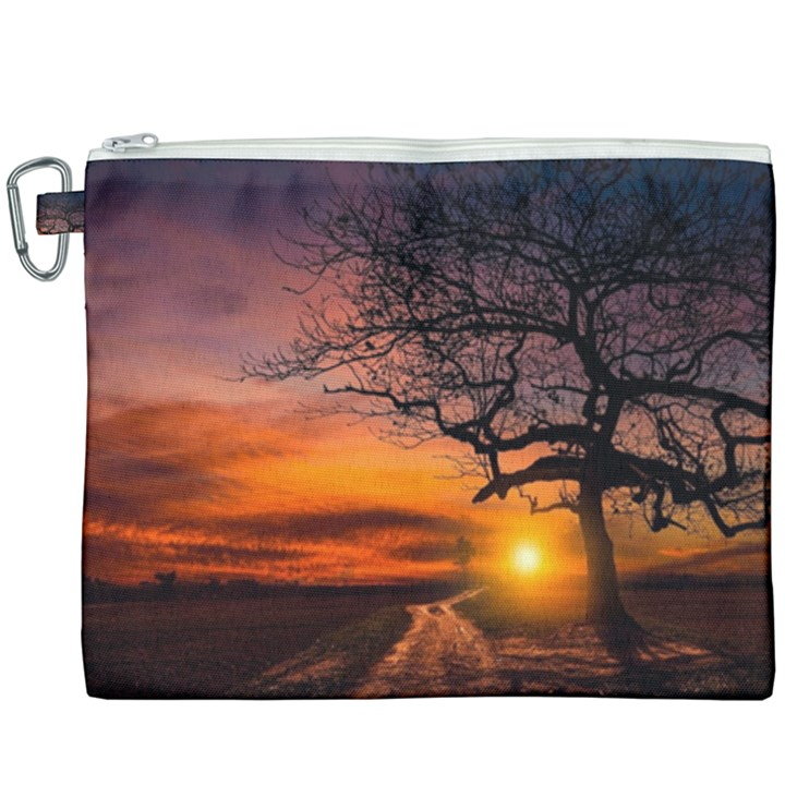 Lonely Tree Sunset Wallpaper Canvas Cosmetic Bag (XXXL)