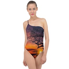 Lonely Tree Sunset Wallpaper Classic One Shoulder Swimsuit
