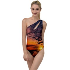 Lonely Tree Sunset Wallpaper To One Side Swimsuit