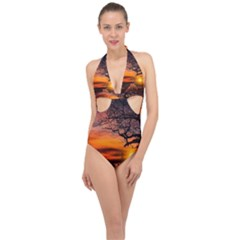 Lonely Tree Sunset Wallpaper Halter Front Plunge Swimsuit