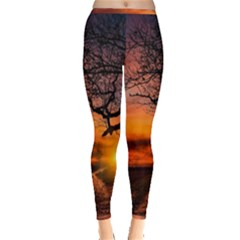Lonely Tree Sunset Wallpaper Inside Out Leggings