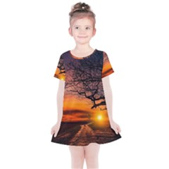 Lonely Tree Sunset Wallpaper Kids  Simple Cotton Dress