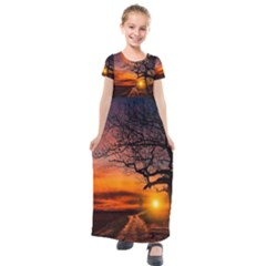 Lonely Tree Sunset Wallpaper Kids  Short Sleeve Maxi Dress