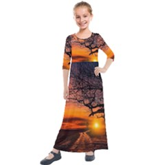 Lonely Tree Sunset Wallpaper Kids  Quarter Sleeve Maxi Dress