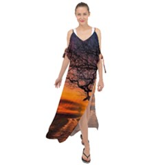 Lonely Tree Sunset Wallpaper Maxi Chiffon Cover Up Dress