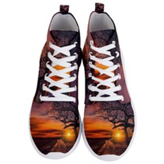 Lonely Tree Sunset Wallpaper Men s Lightweight High Top Sneakers