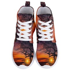 Lonely Tree Sunset Wallpaper Women s Lightweight High Top Sneakers