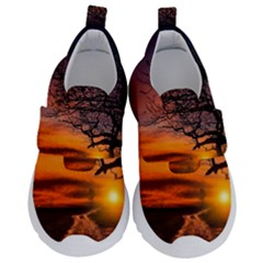 Lonely Tree Sunset Wallpaper Velcro Strap Shoes