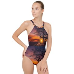 Lonely Tree Sunset Wallpaper High Neck One Piece Swimsuit