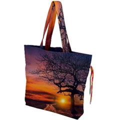 Lonely Tree Sunset Wallpaper Drawstring Tote Bag