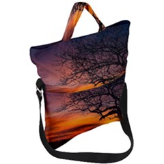 Lonely Tree Sunset Wallpaper Fold Over Handle Tote Bag