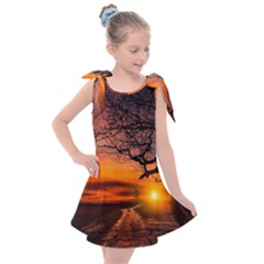 Lonely Tree Sunset Wallpaper Kids  Tie Up Tunic Dress