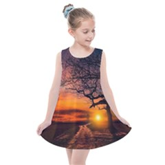 Lonely Tree Sunset Wallpaper Kids  Summer Dress