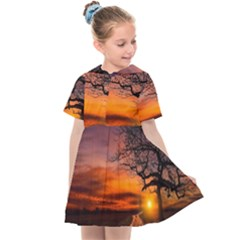 Lonely Tree Sunset Wallpaper Kids  Sailor Dress