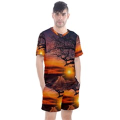 Lonely Tree Sunset Wallpaper Men s Mesh Tee And Shorts Set