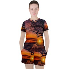 Lonely Tree Sunset Wallpaper Women s Tee and Shorts Set