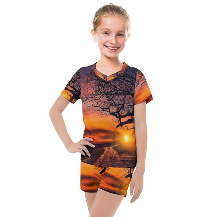 Lonely Tree Sunset Wallpaper Kids  Mesh Tee and Shorts Set
