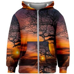 Lonely Tree Sunset Wallpaper Kids Zipper Hoodie Without Drawstring