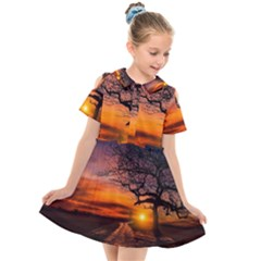Lonely Tree Sunset Wallpaper Kids  Short Sleeve Shirt Dress