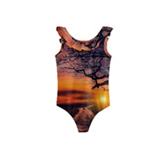 Lonely Tree Sunset Wallpaper Kids  Frill Swimsuit