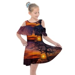 Lonely Tree Sunset Wallpaper Kids  Shoulder Cutout Chiffon Dress