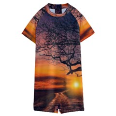 Lonely Tree Sunset Wallpaper Kids  Boyleg Half Suit Swimwear