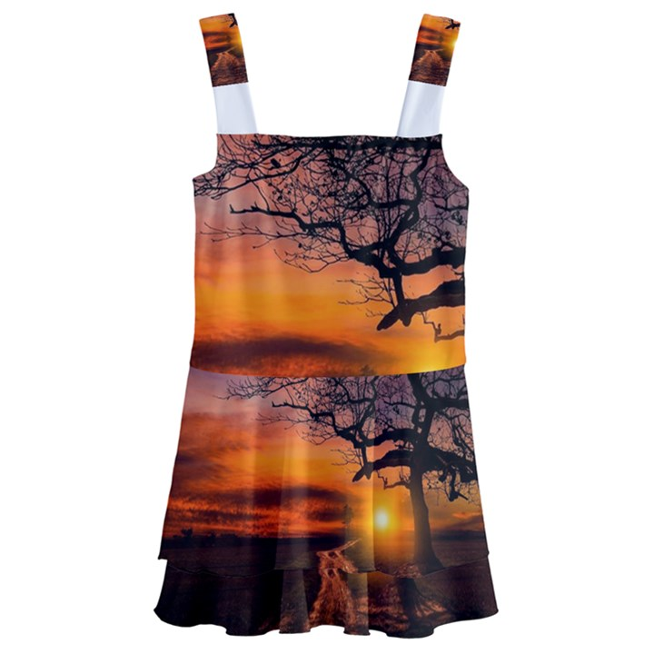 Lonely Tree Sunset Wallpaper Kids  Layered Skirt Swimsuit