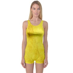 Green Yellow Leaf Texture Leaves One Piece Boyleg Swimsuit
