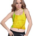 Green Yellow Leaf Texture Leaves Spaghetti Strap Bra Top View1