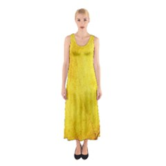 Green Yellow Leaf Texture Leaves Sleeveless Maxi Dress