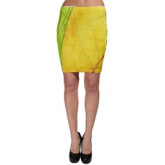 Green Yellow Leaf Texture Leaves Bodycon Skirt