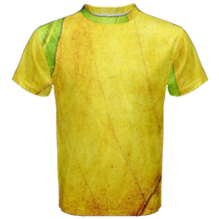 Green Yellow Leaf Texture Leaves Men s Cotton Tee
