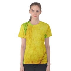 Green Yellow Leaf Texture Leaves Women s Cotton Tee