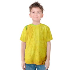 Green Yellow Leaf Texture Leaves Kids  Cotton Tee