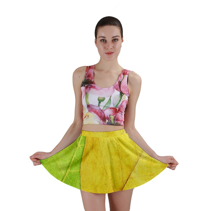 Green Yellow Leaf Texture Leaves Mini Skirt