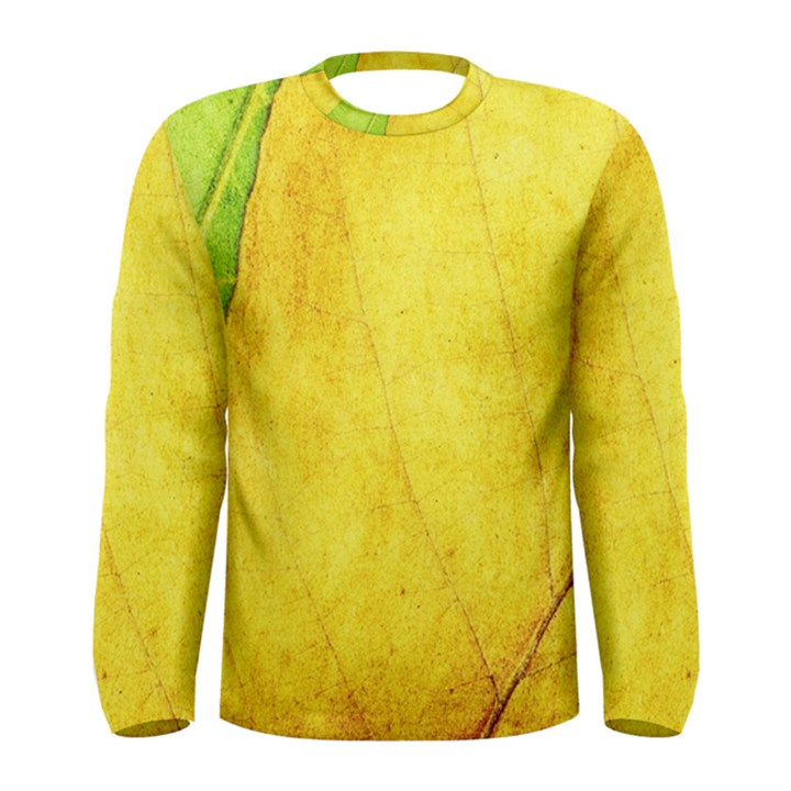 Green Yellow Leaf Texture Leaves Men s Long Sleeve Tee