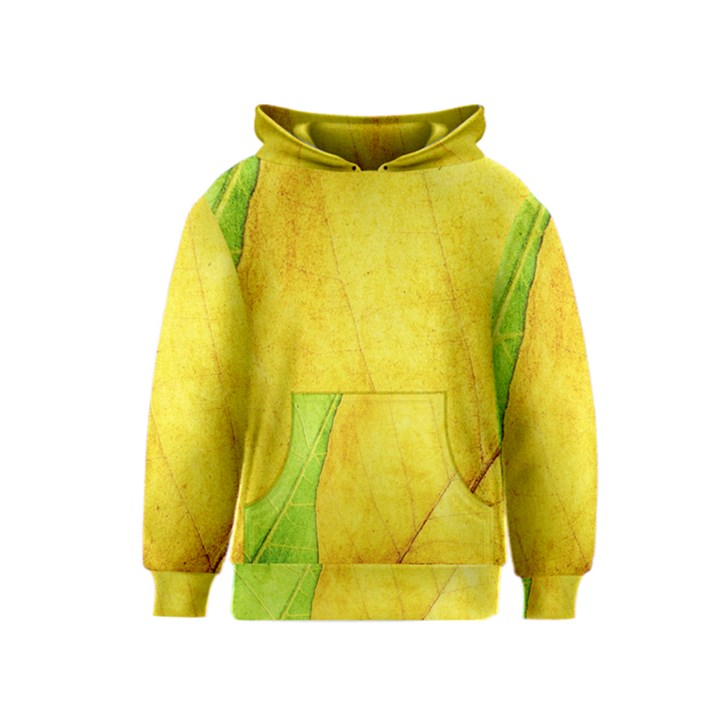 Green Yellow Leaf Texture Leaves Kids  Pullover Hoodie