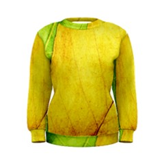 Green Yellow Leaf Texture Leaves Women s Sweatshirt